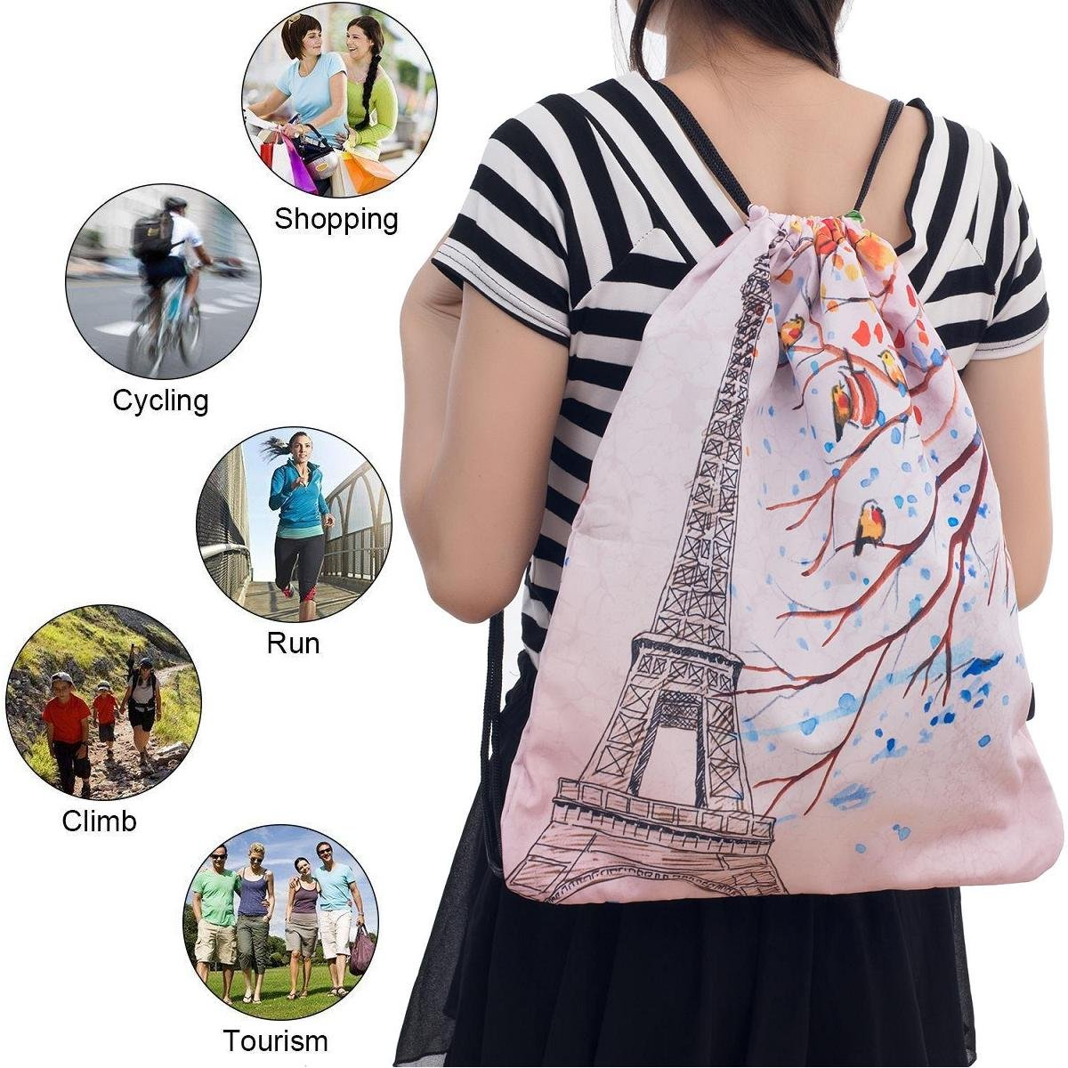 iColor Sport Sackpack,Drawstring Backpack,Stylish Multipurpose Girls Nylon Gym Bags,Teen Yoga Dance Bag,Lightweight Gym Bag for Women Cycling Hiking,Gymsack Travel Daypack 18'' x 13.8'' (Eiffel Tower) by iColor (Image #6)