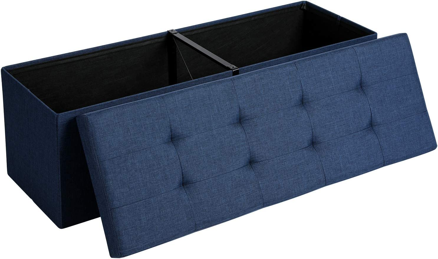 SONGMICS Storage Ottoman Bench, Padded Chest with Lid, Folding Seat, 120L Capacity, Hold up to 660lb, Navy Blue ULSF77IN