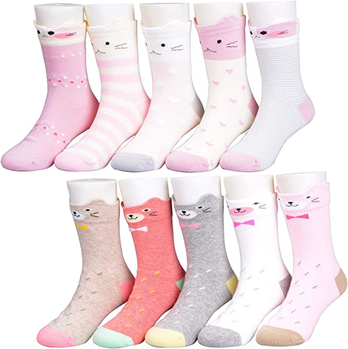 Kids Baby Girls Toddler Cotton Socks Cute Novelty Animal Thick Warm Hosiery