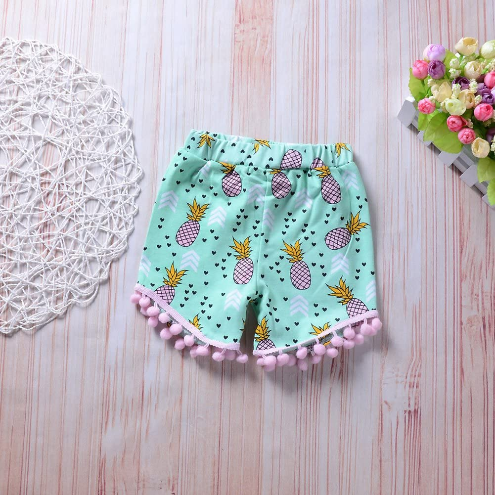 Yiwa Baby Girl Leisure Vest Pineapple Printed Clothes Set Short Pants Bow Headband Cute Costumes Outfits