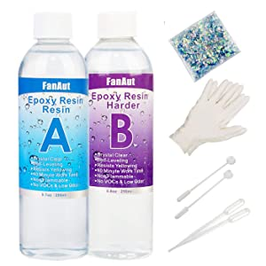 FanAut Epoxy Resin Crystal Clear for Art, Crafts, Tumblers, Casting and Jewelry Making 18.5 Ounce with 2 Droppers, 2 Sticks,1 Pair Rubber Gloves and 1 Pack of Resin Glitter