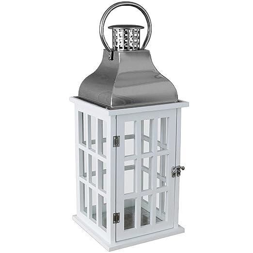 Lanterne Bianche Da Esterno.Lanterna Da Giardino In Legno Con Tettuccio In Metallo E Manico In