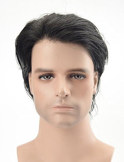 Lordhair Peluquín Super Thin Skin 100% Cabello humano Color #1A ...