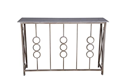 Gentil Metal Entryway Console With Marble Top Console Table