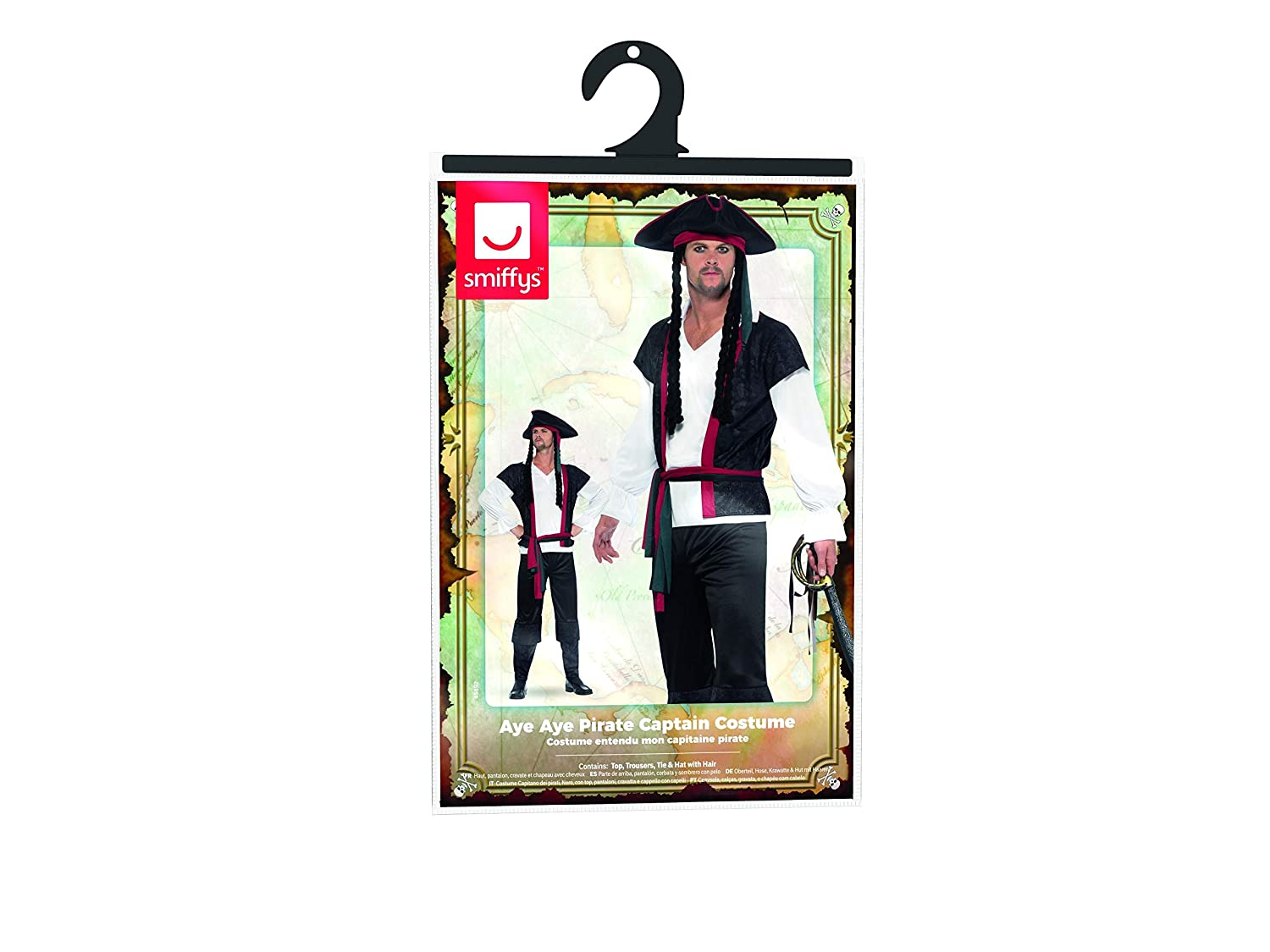 141fbe419 Smiffys Men's Aye Pirate Captain Costume: Amazon.ca: Clothing & Accessories