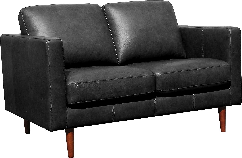 "Rivet Revolve Modern Leather Loveseat with Tapered Legs, 56.3""W, Black"
