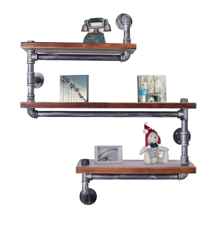 Diwhy Industrial Pipe Shelving Bookshelf Rustic Modern Wood Ladder Pipe Wall Shelf 3 Tiers Wrought IronPipe Design Bookshelf DIY Shelving Dia 32mm,Weight 30lb Black Brush Silver Tube