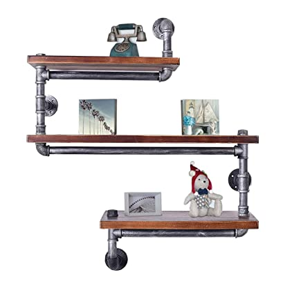 Diwhy Industrial Pipe Shelving Bookshelf Rustic Modern Wood Ladder Wall Shelf 3 Tiers Wrought IronPipe