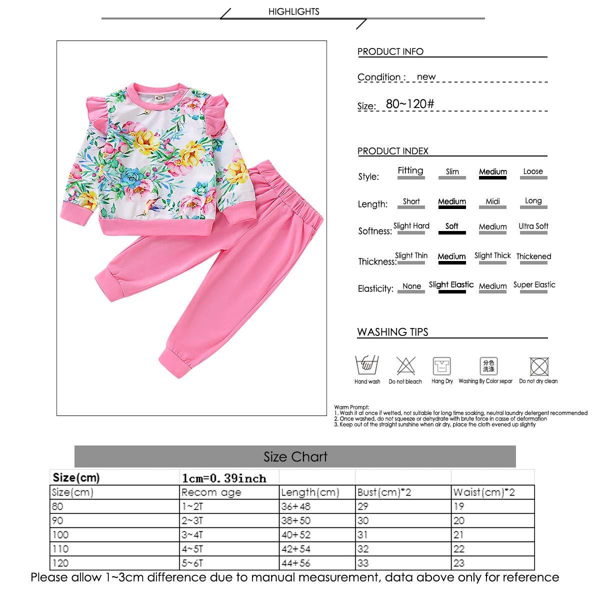 Haokaini 2 Pezzi//Set Increspato Floreale Rosa Abiti Manica Lunga Fiore Top Camicia Pantaloni Set di Abbigliamento