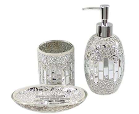 crackle bathroom accessories. 3 Piece Modern Silver Chrome Sparkle Mosaic Glass Tile Bathroom Accessory  Set