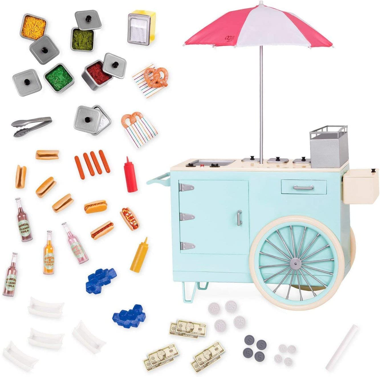 "Our Generation by Battat- Retro Hot Dog Cart- Toy, Cart & Accessory Set for 18"" Dolls- for Age 3 Years & Up"
