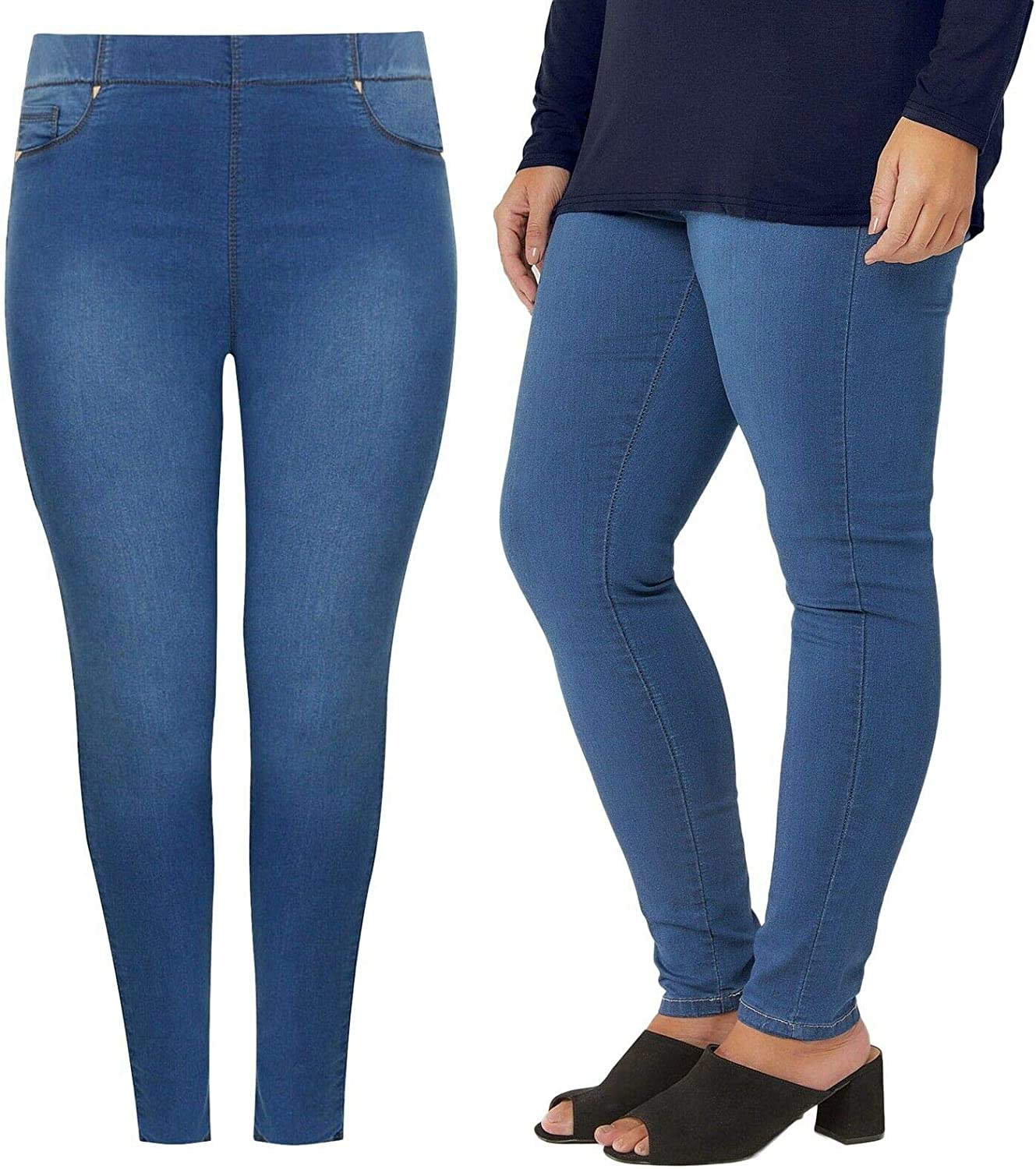 UK Dispatch Ladies Plus Size 16-32 New Stretch Denim Faded Blue Jegging Pull On Jeans Womens