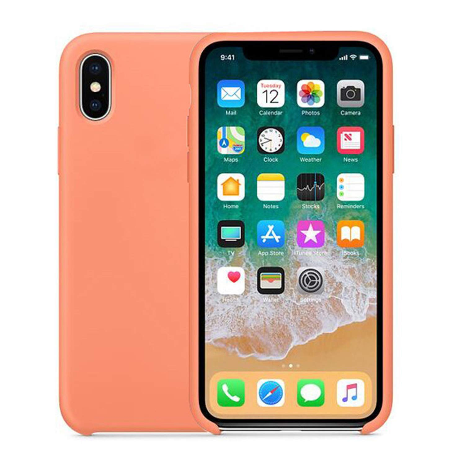 Original with Logo Silicone Phone Case for iPhone 7 6 8 Plus Official Cover for Apple Cases for iPhone X 6s 5 5s SE Peach for iPhone 6 6s
