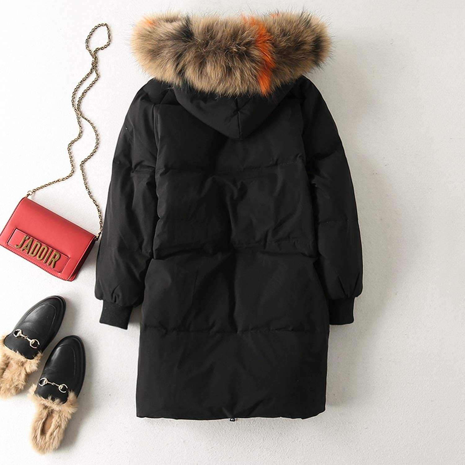 Women White Duck Down Jacket Warm Large Hooded Thick Long Down Parkas Coat