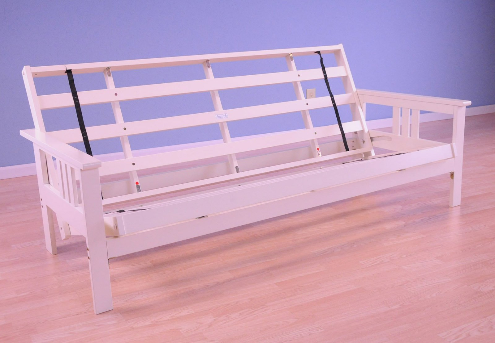 Full Size Monterey Wood Futon Frame Only, Mattress NOT included | Antique White by Kodiak Furniture