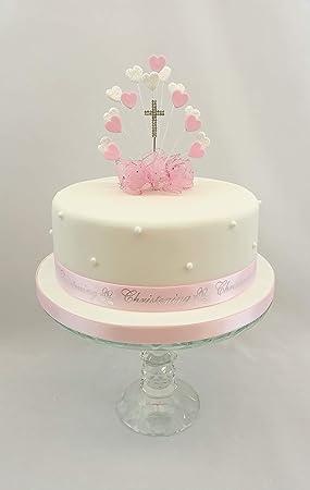 Décoration de gâteaux Cœur Rafale Rose \u2013 Baptême, diamante Croix gâteau