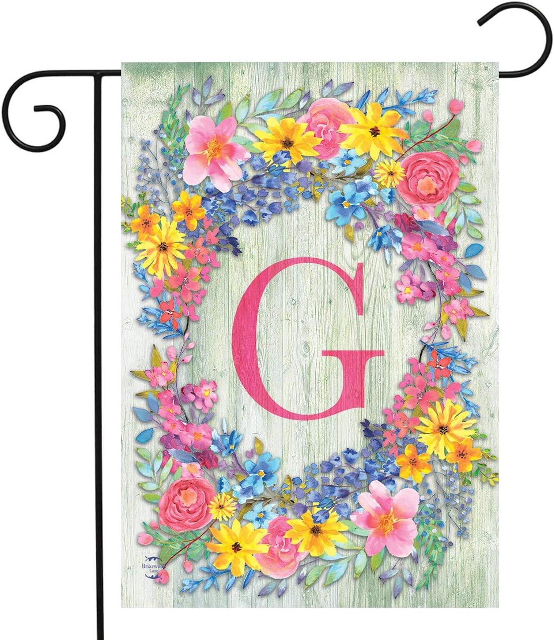 "Briarwood Lane Spring Monogram Letter G Garden Flag Floral Wreath 12.5"" x 18"""
