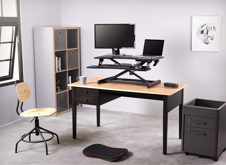 Standing Desk with Height Adjustable FEZIBO Stand Up Black Desk Converter, 33 Black Ergonomic Desktop Workstation Riser fits Dual Monitors