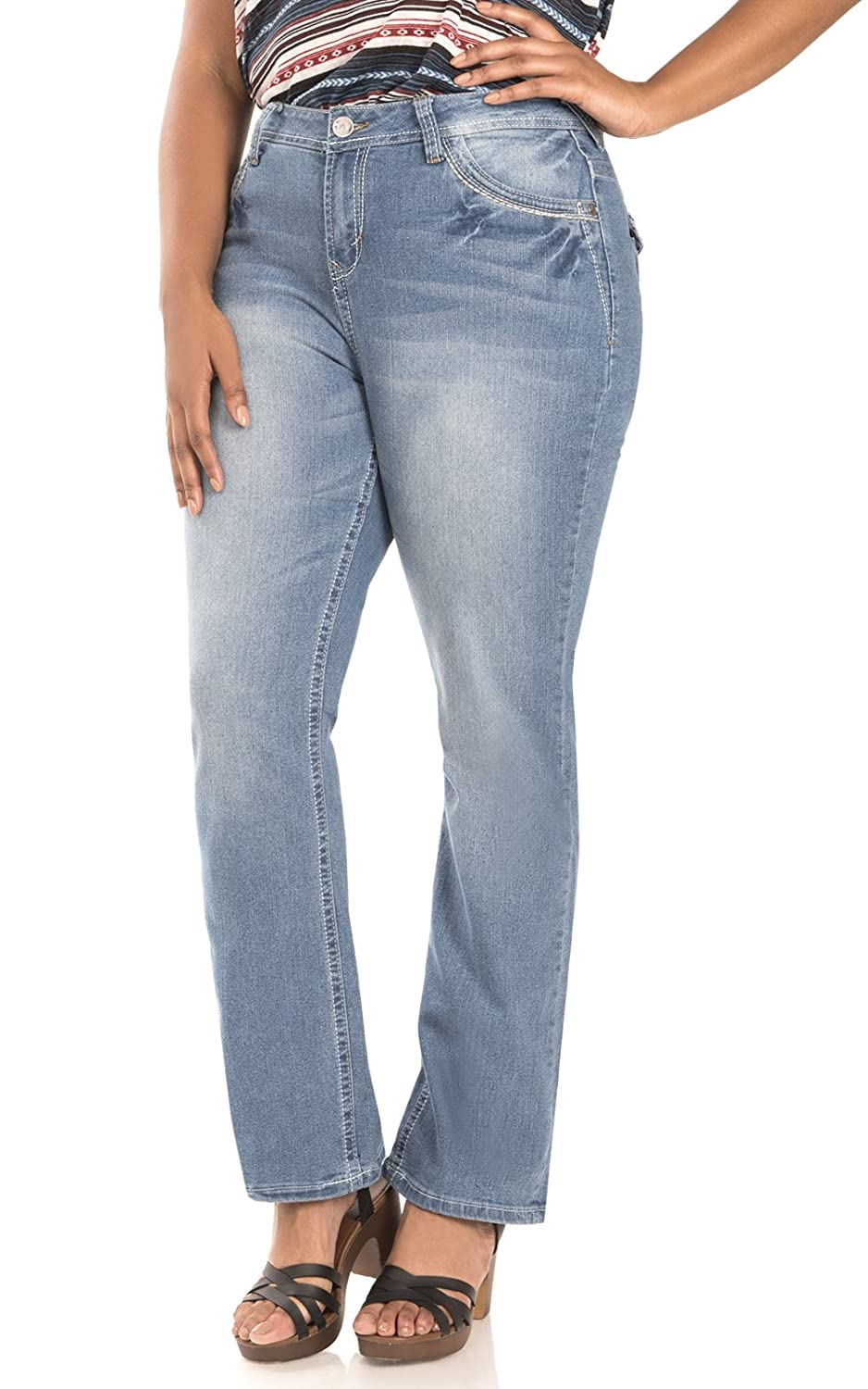 WallFlower Women's Juniors Plus-Size Signature Mid-Rise Legendary Bootcut Jeans WBM02414P