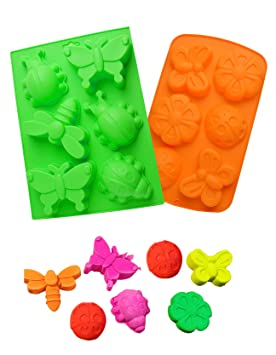 HapWay - Molde de jabón para niños, diseño de mariposas de insectos, 2 piezas