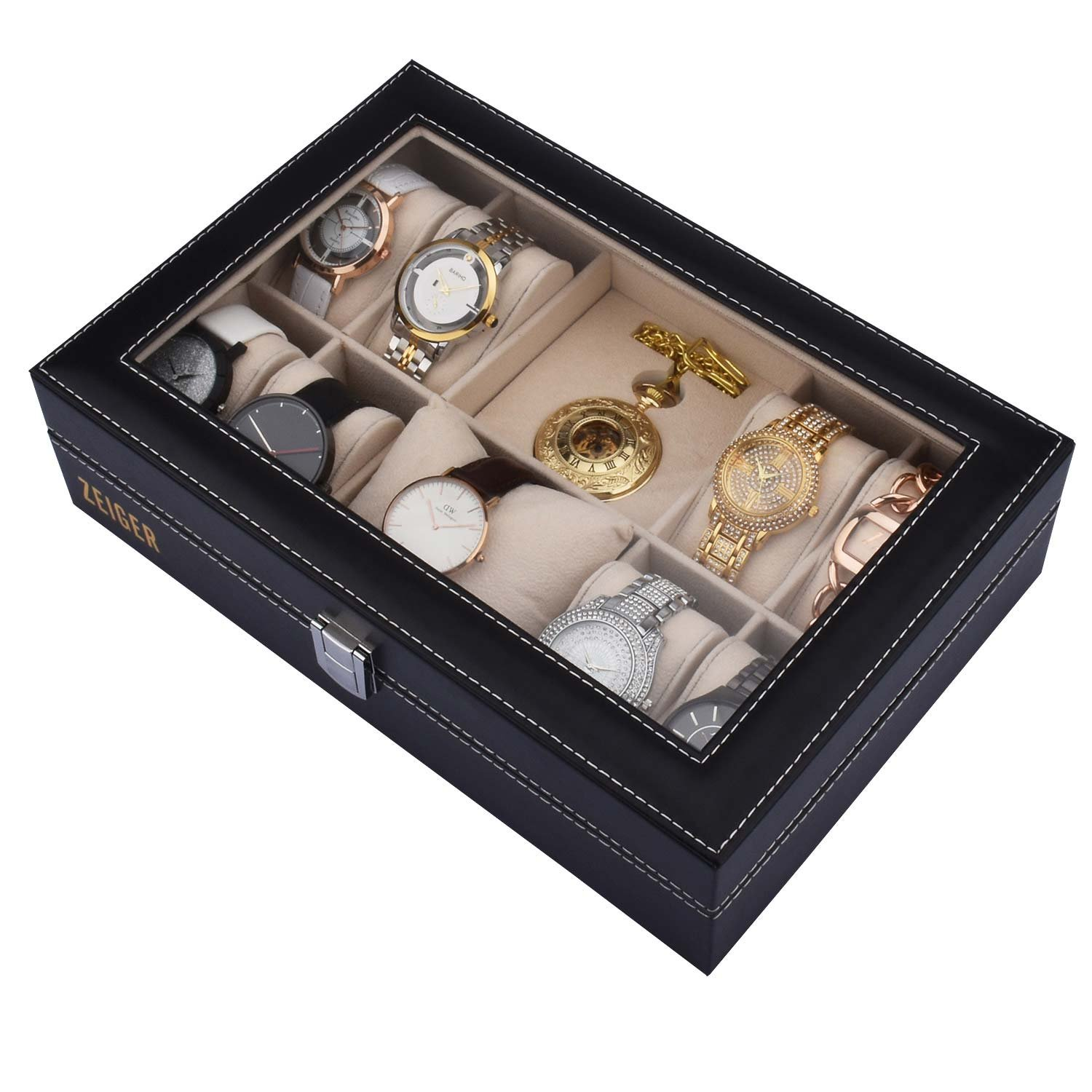 ZEIGER Mens Women Jewelry Watch Storage Display Box Upgrade Large Holder Decorative Faux Leather Watch Case and Glass Top 10 Slot Organizer S001 Black