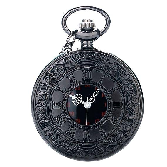 yahe moderno Steampunk Classic números romanos negro Vintage cuarzo reloj de bolsillo con cadena: Amazon.es: Relojes