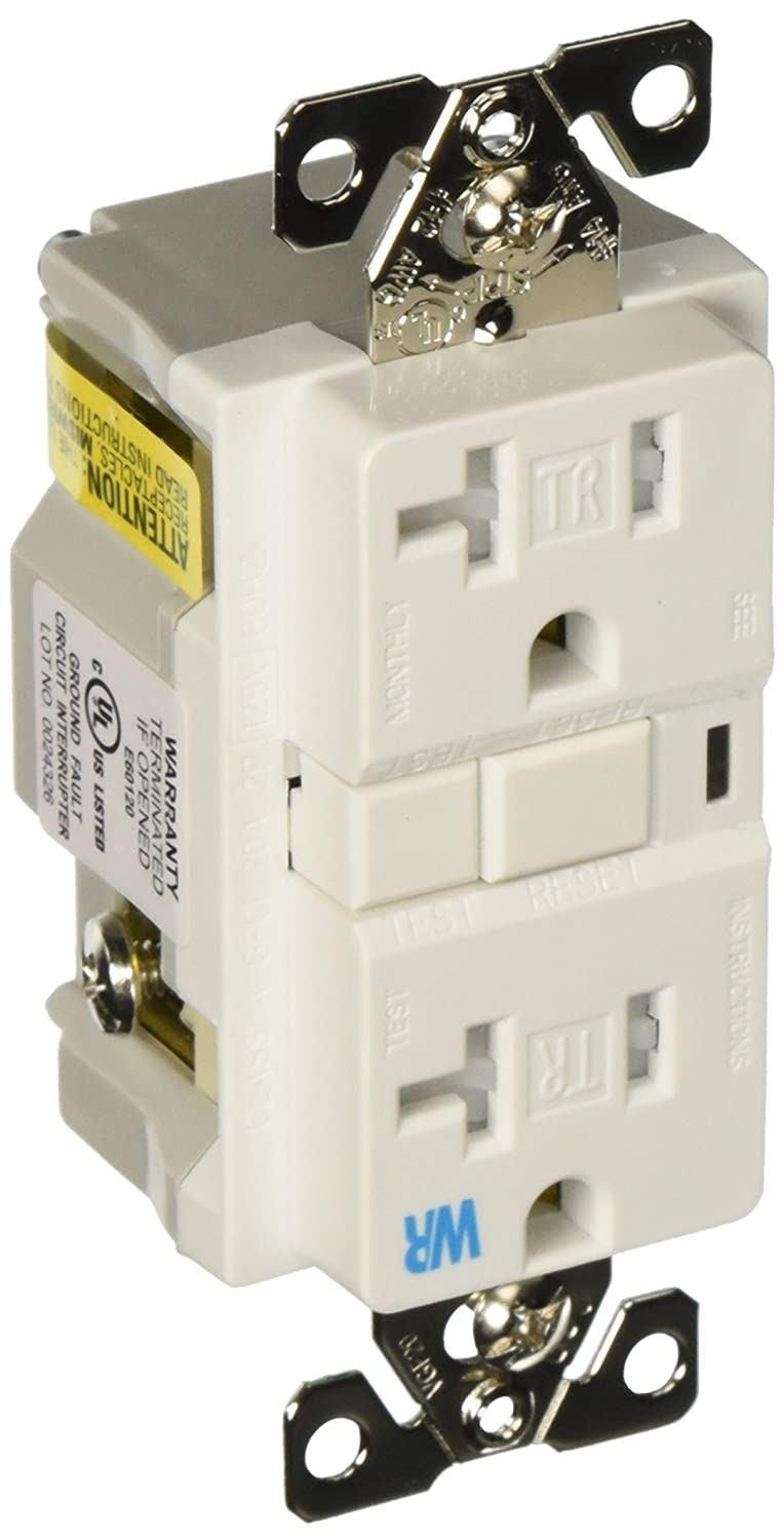 The Eaton Twrvgf20w Sp 20 Amp 2 Pole 3 Wire 125 Volt Tamper And Cooper Wiring Devices 20amp 125volt Yellow 3wire Grounding Plug Weather Resistant Ground Fault Circuit Interrupter Duplex White