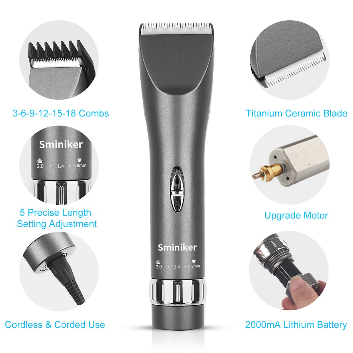 Sminiker Professional Cordless Haircut Kit Rechargeable Hair Clippers Set with 2 Batteries, 6 Comb, Guides and Scissors - Grey by Sminiker Professional (Image #8)