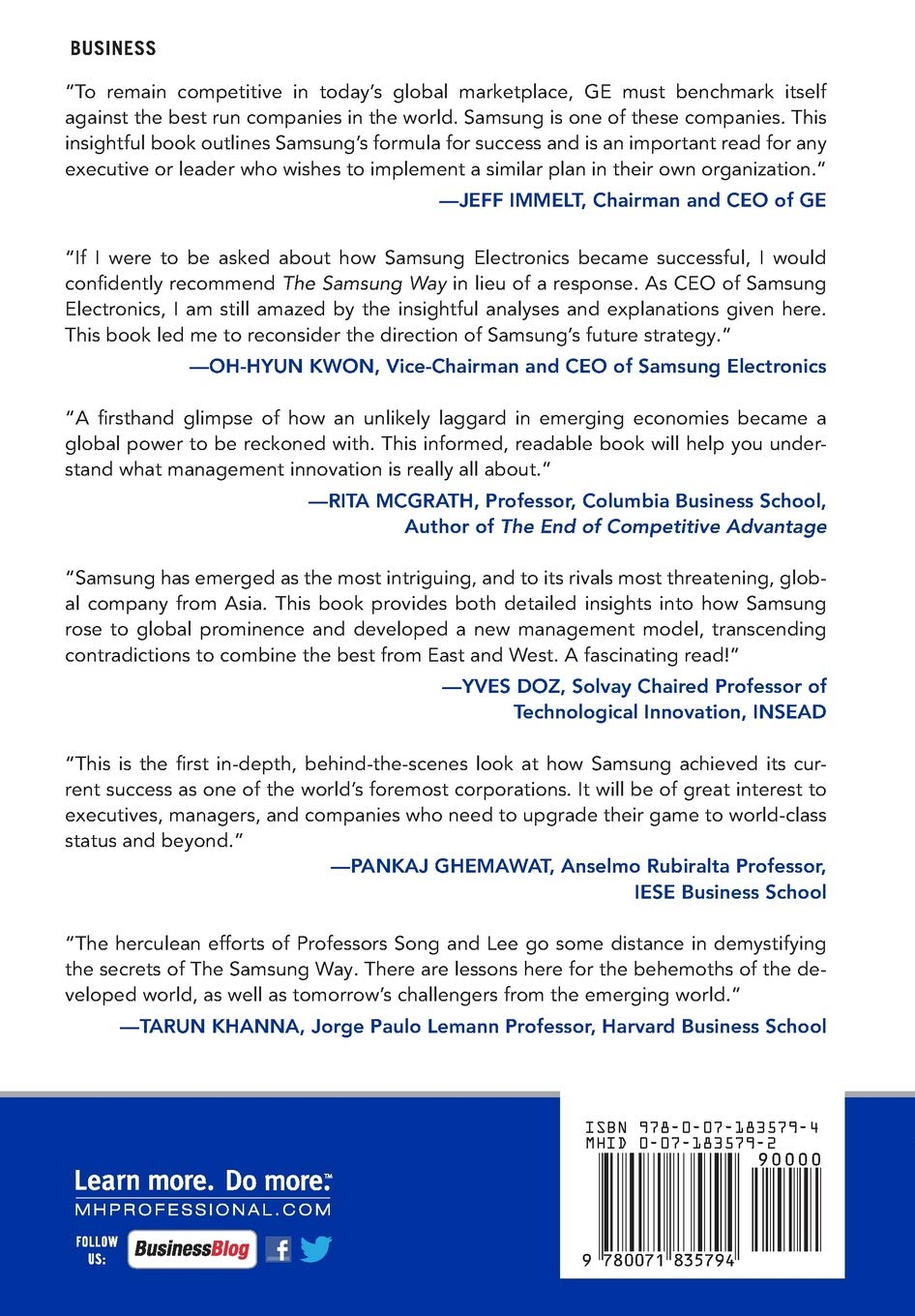 The Samsung Way: Transformational Management Strategies from the