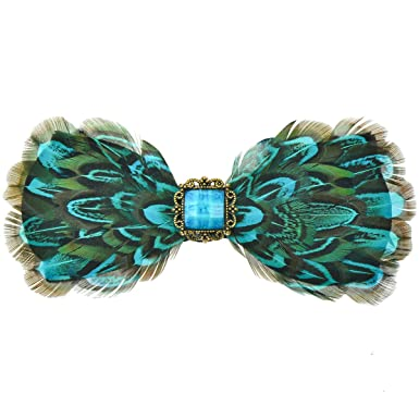48f822eba DeerLand Men's Bow Ties Peacock Feathers Adjustable Butterfly Pre ...