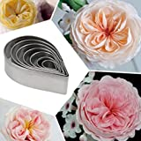 VWH Stainless Steel Rose Petal Teardrop Cookie Cutters Biscuit Baking Mold Fondant Jelly Pastry Cutter Cake Decorating 6pcs