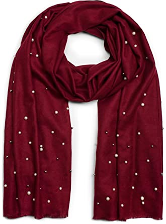 styleBREAKER écharpe douce et raffinée avec perles blanches et argents,  écharpe d hiver, 8c946129467