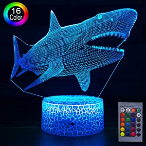 HLLKYYLF Baby Shark Toys Light Boys Shark Party Supplies 16 Color Changing Kids Lamp with Touch and Remote Control Kids Shark Decor Lamp as Gift Idea for Home Decor or Birthday Gifts for Baby