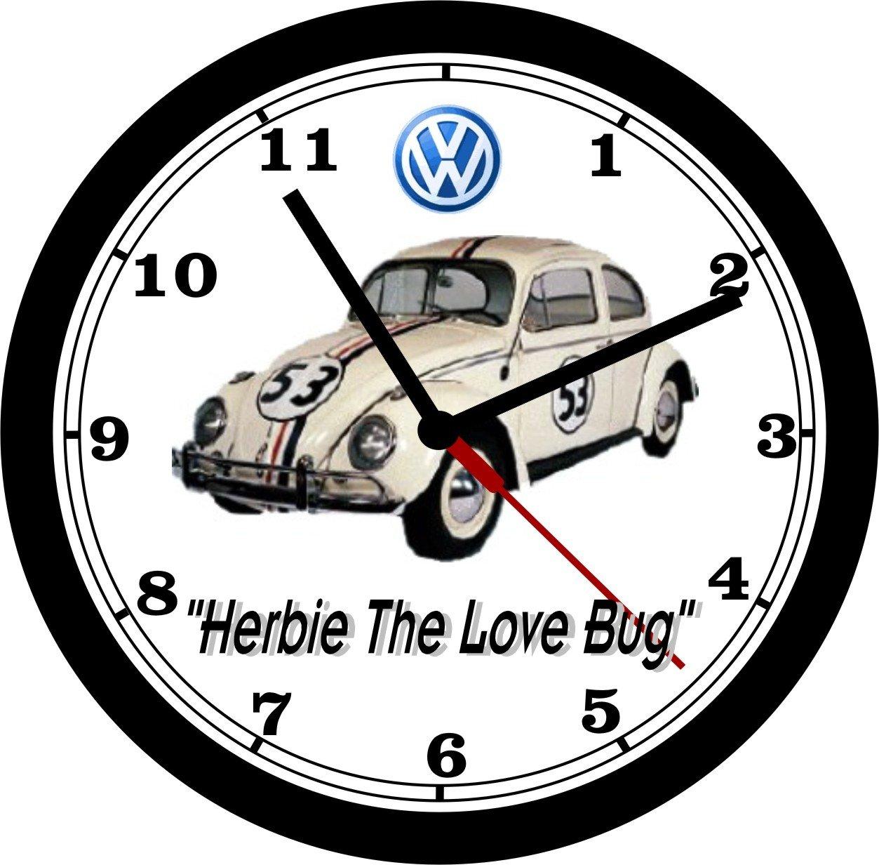 VOLKSWAGEN BEETLE ''HERBIE THE LOVE BUG'' WALL CLOCK-FREE USA SHIP!