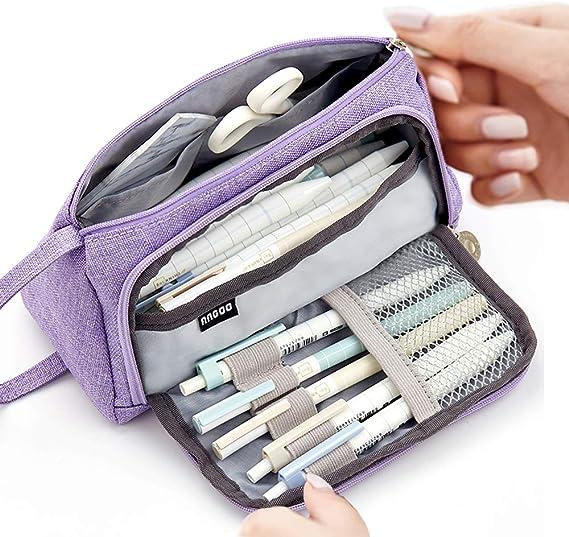 Estuche de gran capacidad, duradero, para guardar bolígrafos, bolígrafos, bolígrafos, maquillaje, para niñas, 20 x 11 cm, color morado: Amazon.es: Oficina y papelería