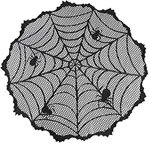 "Wopulite 40"" Round Halloween Tablecloth, Polyester Lace Black Spider Web Table Topper Cloth,Perfect for Halloween Party Decorations Table Decor/Scary Movie Nights"