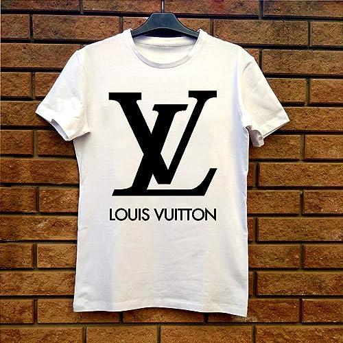 0584919f3b T-Shirt men women Louis Vuitton LV Black White ... - Amazon.com