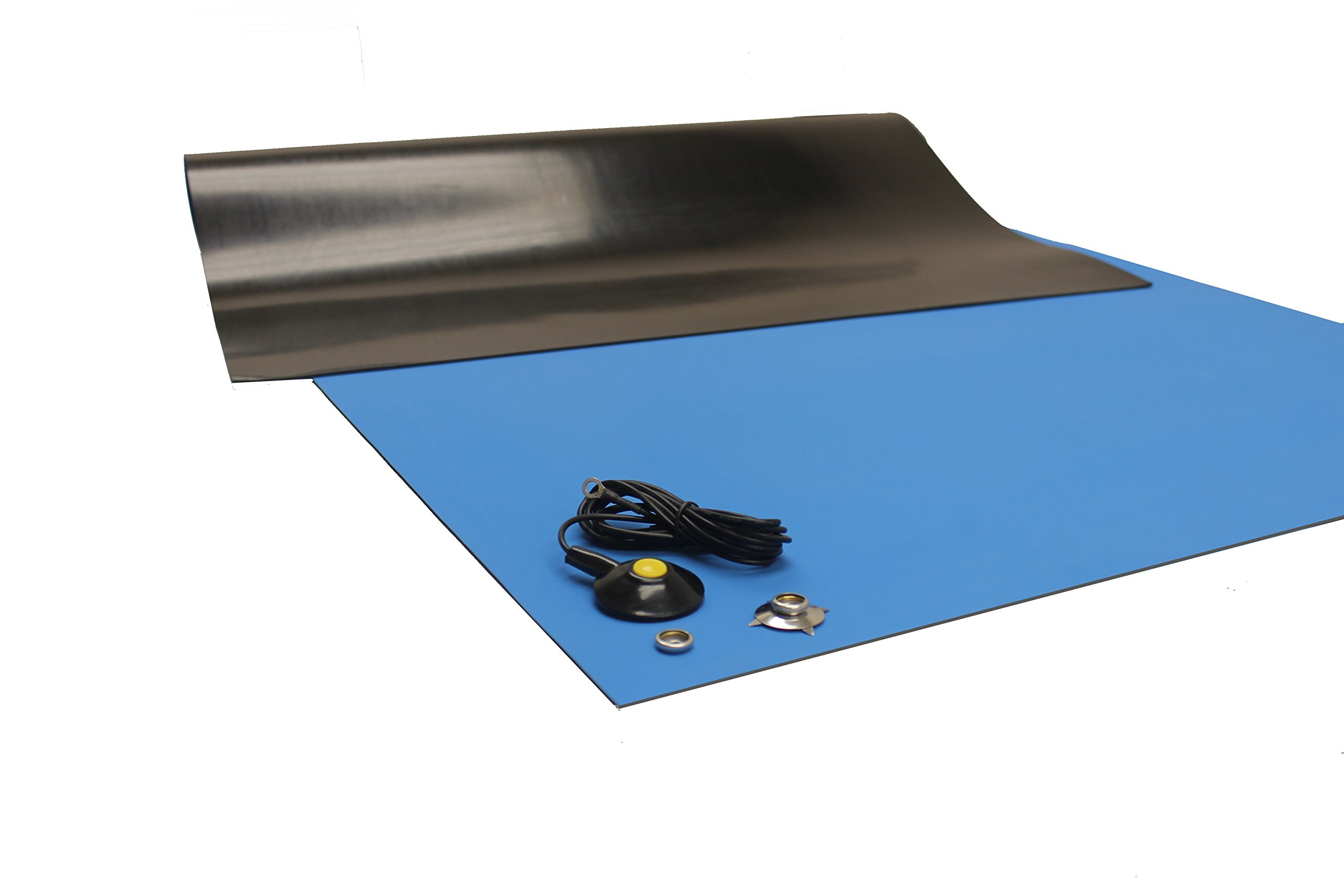 Rubber ESD Anti-Static HIGH Temperature Soldering MAT-30'' X 72'' (2.5' x 6') - 0.08'' Thick- with Ground Cable-Blue