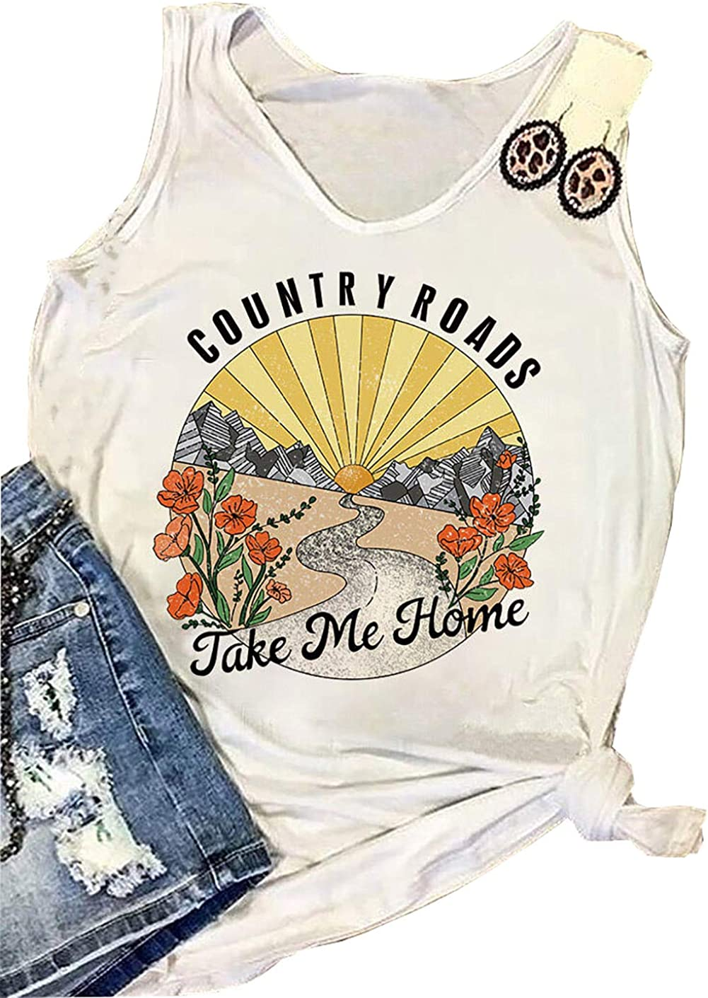 Country Roads Take Me Home Floral Tank Top for Women Hiking Mountain Sleeveless T Shirt Tees Camping Vest