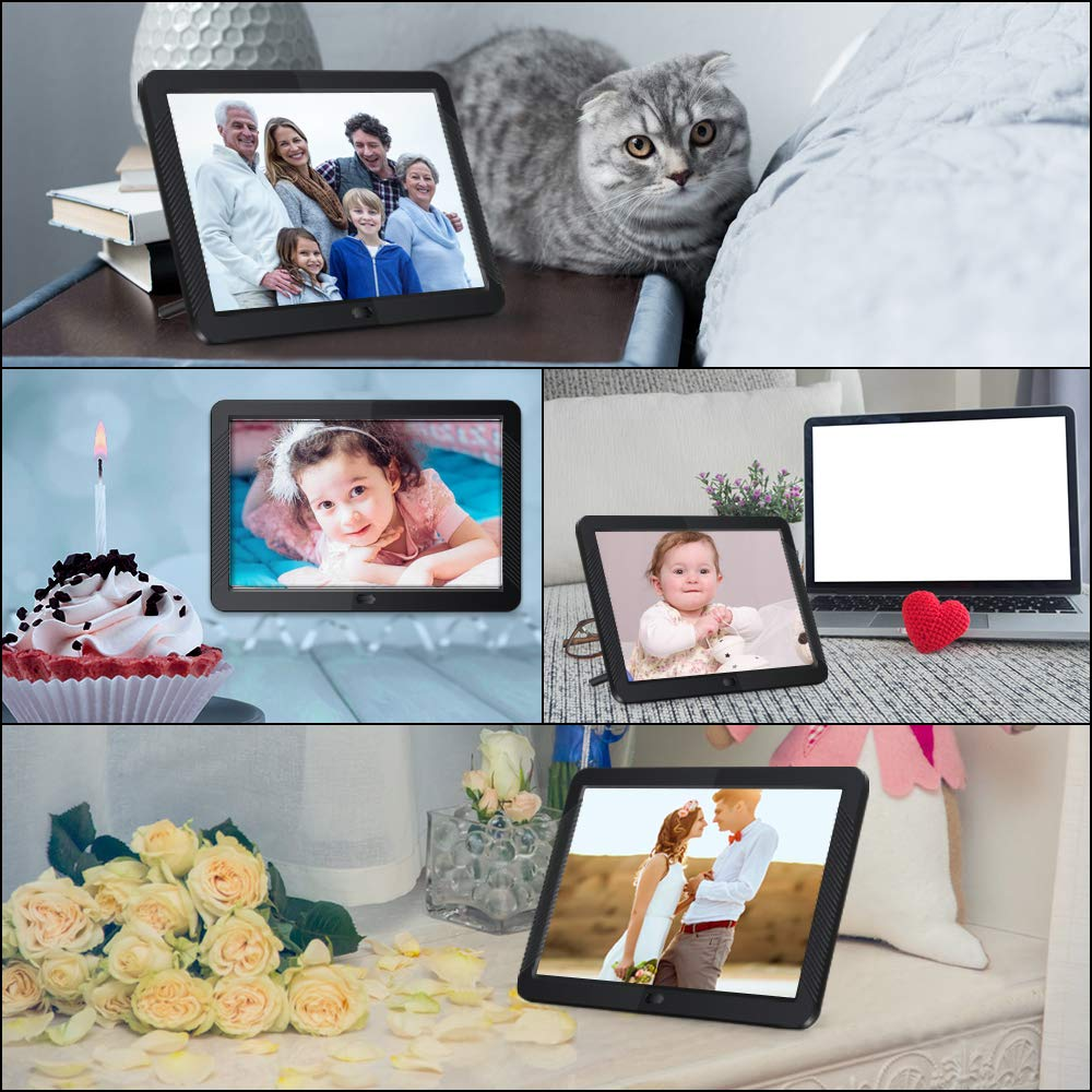 Digital Picture Frame 8 Inch Digital Photo Frame HD 1920X1080P with Remote Control 16:9 IPS Display Electronic Auto Slideshow Zoom Image Stereo Video Music Player Support USB SD Card 180° View Angle by Pofeite (Image #8)