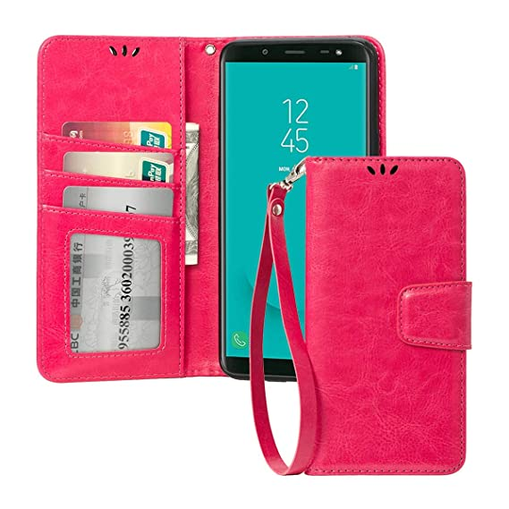 new styles 612c3 38852 for Samsung Galaxy J6 Case 2018 Faux Leather Flip Wallet Case with Card  Slot for Samsung Galaxy J6 2018 Case for Girls-Pink