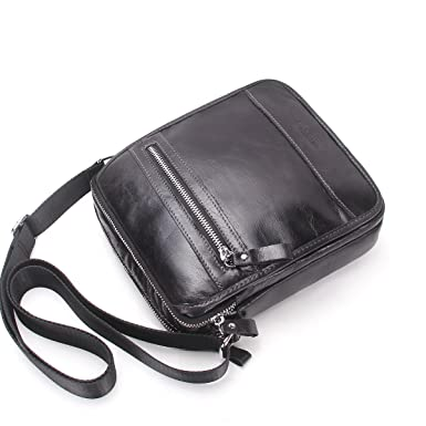 Contacts Mens Genuine Leather Crossbody Single-Shoulder Mini iPad Shoulder  Tab Bag (Black) 3253450783