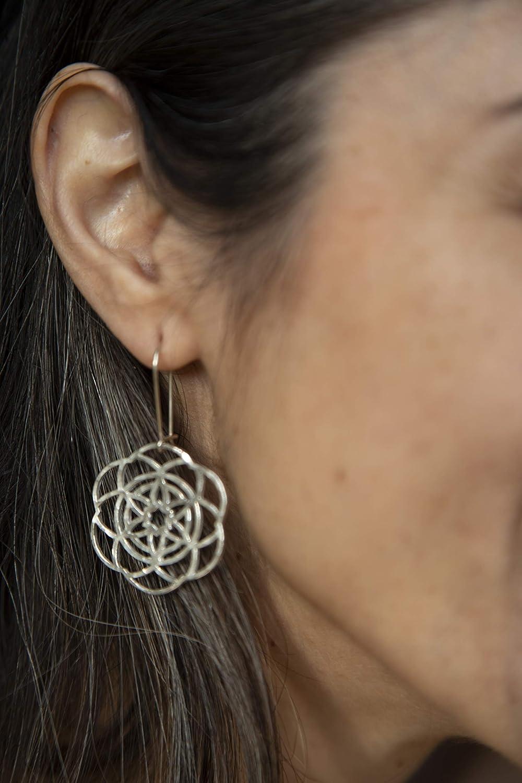 Flower of Life Earrings Bali Style Gold Sacred Geometry