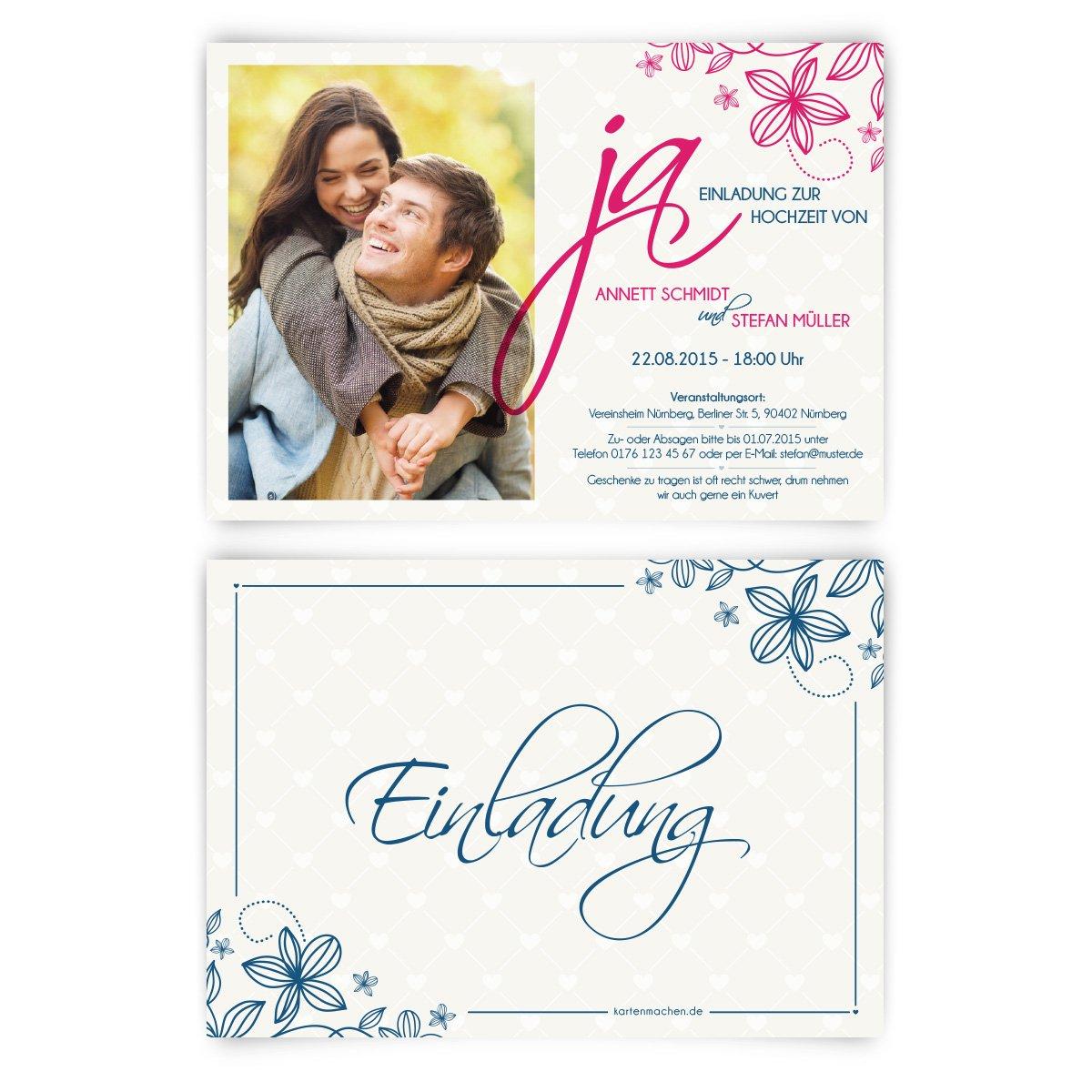 Einladungskarten Zur Hochzeit 80 Stuck Ja Wort Jawort Eid