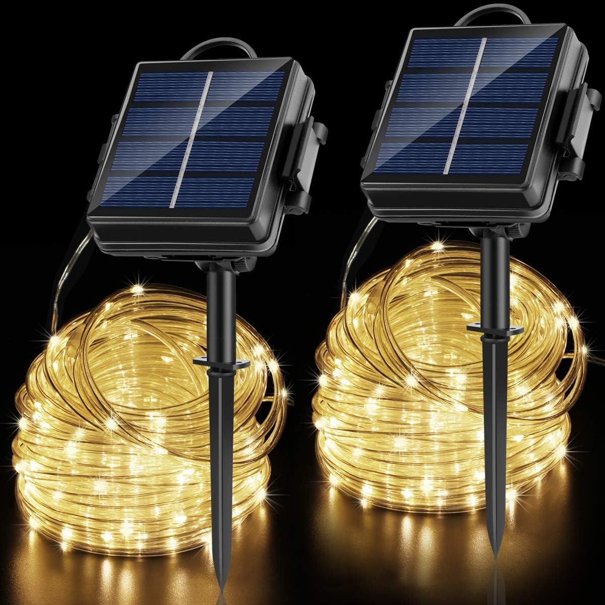 OPOLEMIN Solar String Lights Outdoor, 2 Packs 200 LED 65.6ft Solar Rope Lights Solar 2400 mAh Rechargeable Battery Powered 8 Modes PVC Tube Waterproof Solar Fairy Lights for Halloween Garden Decor