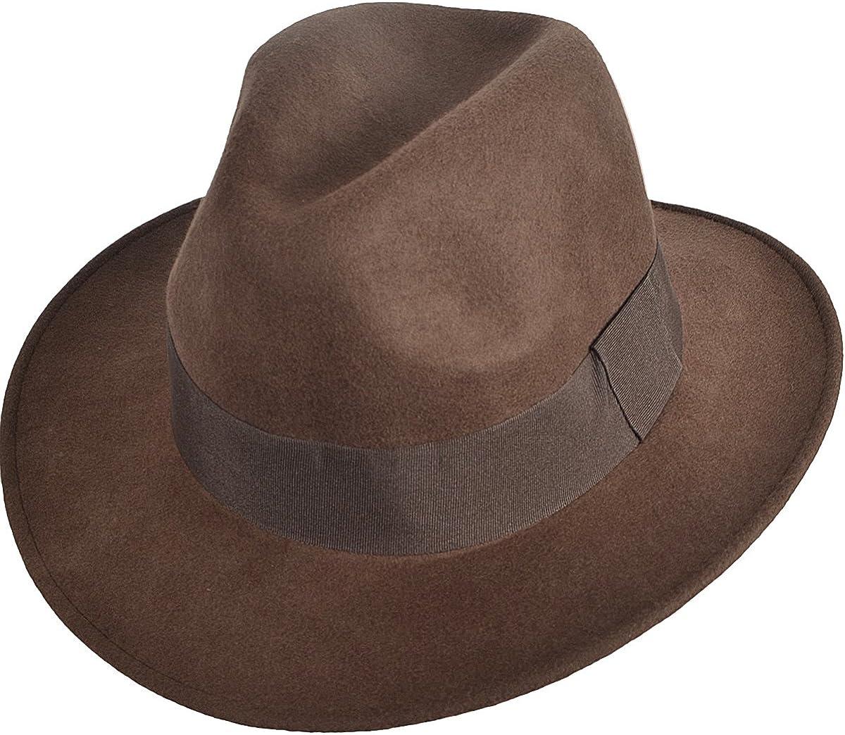 Jazmiu Mens Dress Wool Felt Fedora Hat Classic Black Trilby Winter Hat F01