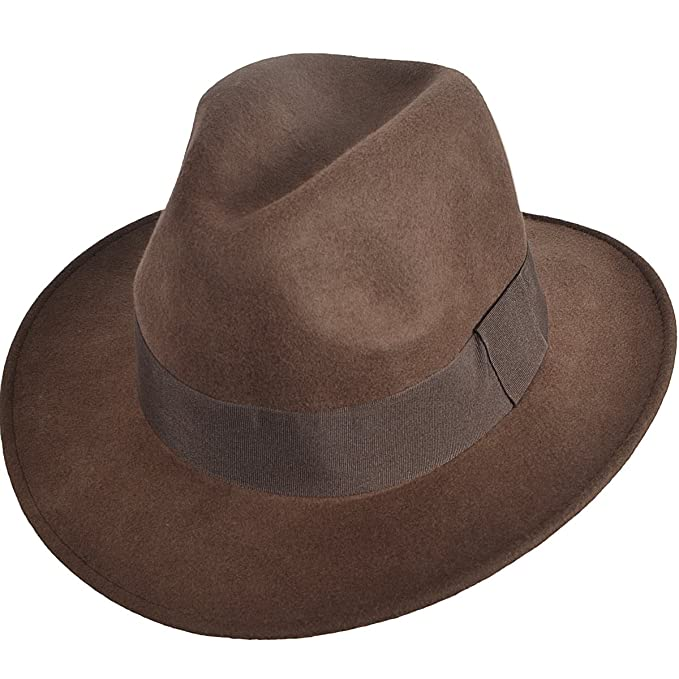 6a357a91f1e081 FORBUSITE Men Wide Brim Wool Fedora Hat for Winter B5030 Brown ...