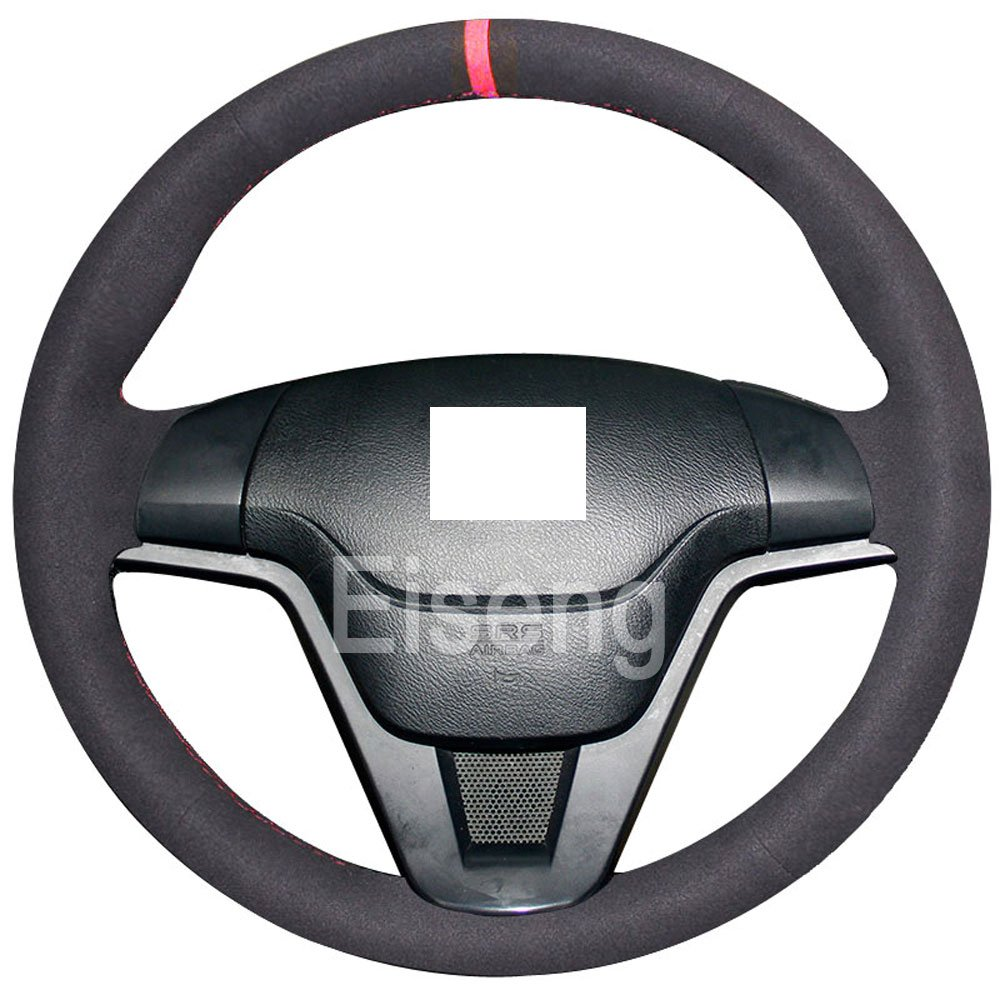 Eiseng Steering Wheel Cover for Honda CRV CR-V SUV 2007 2008 2009 2010 2011 Sew DIY Genuine Black Leather Stitch on Wrap Interior Accessories 15 inches (Red thread)