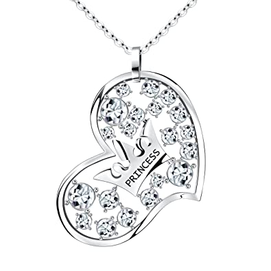 Atmoko Heart Shaped Young Princess Crown Pendant Necklace Jewelry Perfect Gift For Girlfriend
