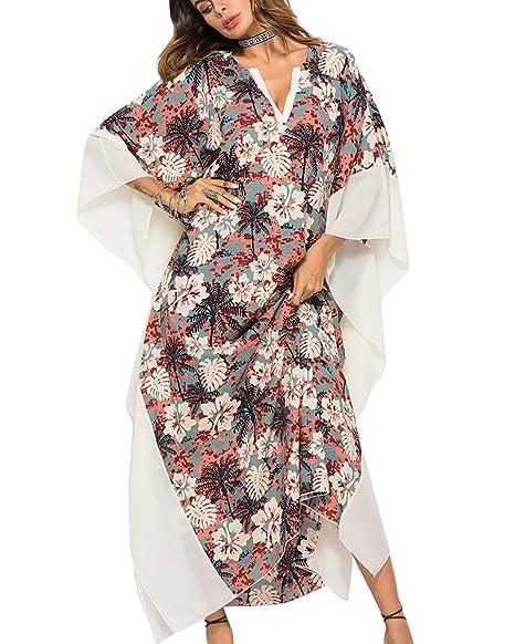 4cb3af58eee0 Guiran Copricostume Mare Donna Caftano Chiffon Vestito Lungo Stampato  Costume da Bagno Bikini Abito da Spiaggia